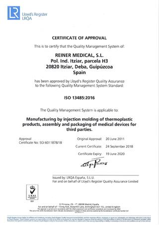 Reiner Medical - Certificates - ISO13485-2016