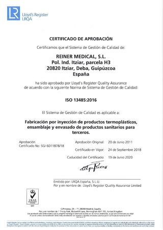 Reiner Medical - Attestations - ISO13485-2016